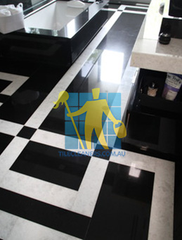 absolute black granite slab floor with white quartzite bands Tuggeranong