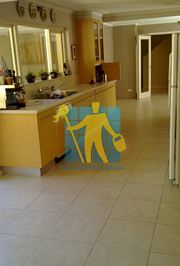 porcelain tiles floor inside furnished home after cleaning kitchen floors Canberra