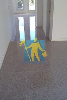 terrazzo tiles empty house dirty with dark stains