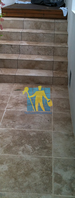 stone tiles outdoor stairs dirty before cleaning Canberra