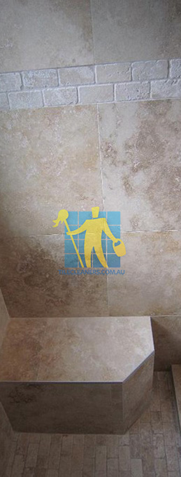 travertine tiles floor wall bathroom natural stone shower with seat Canberra